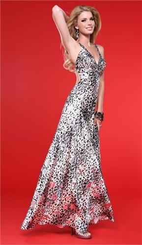 Metallic Animal Print Scala Prom Dress 17072