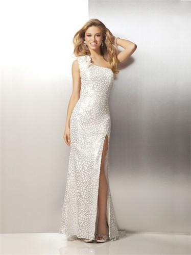 One Shoulder Ivory Sequin Prom Dress 17111