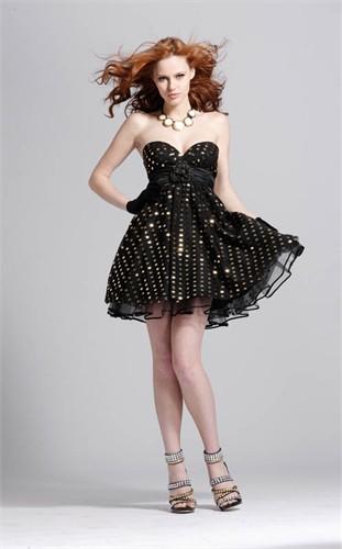 Black and Gold Short Formal Dress 1303