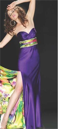 Mac Duggal Purple Print Prom Dress 6022