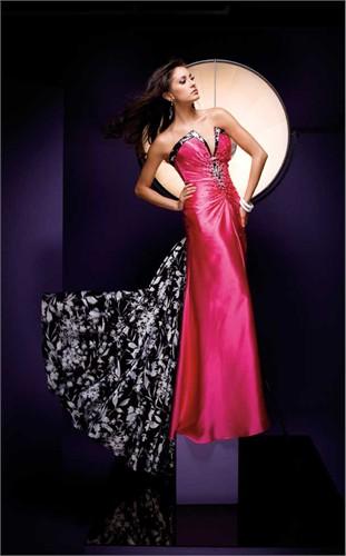Tony Bowls Fuchsia and Print Prom Dress 110716