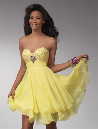 Yellow Party Dresses Photo Album - Reikian