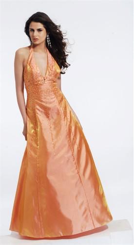 Orange Halter Ball Gown 9130
